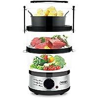 Vaporera Eléctrica 3 Recipientes Apilables Temporizador Robot de Cocina Comidas Cenas Olla Multifuncional