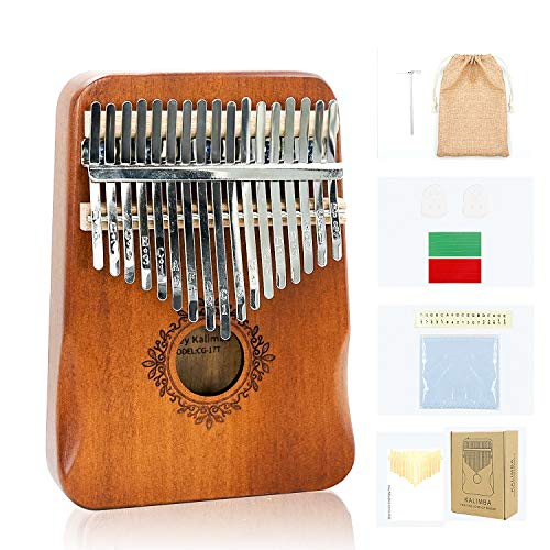 CEd Kalimba 17 Keys Thumb Piano Portable Musical Instrument Great Gifts for Kids Adult Beginners with Tuning Hammer and Study Instruction. Mbira, Mahogany Wood Finger Harp (Love of Butterfly)
