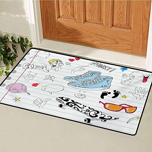 (Doodle Commercial Grade Entrance mat Notebook Design with a Variety Drawings Funky Skateboard Shooting Star for entrances garages patios W31.5 x L47.2 Inch Black Pale Blue Ginger)