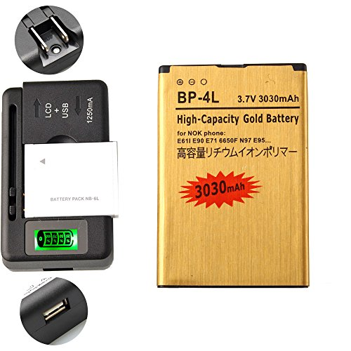 Gold Extended Nokia E71 E72 E90 N97 High Capacity Battery BP-4L + Universal Battery Charger With LED Indicator For Nokia E61i N810 / Nokia E52 E55 E6-00 E61i E63 / Nokia E71 E72 E90 N97 3030 mAh (Phone E71x)