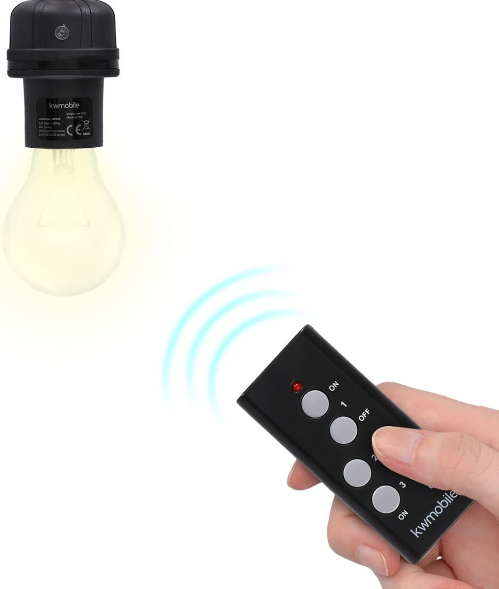 E 27 Lamps Socket Remote Switch Set for LED and Energy Saving Lamps Black kwmobile 3X Wireless E27 lamp Socket 30m Range with Remote Control