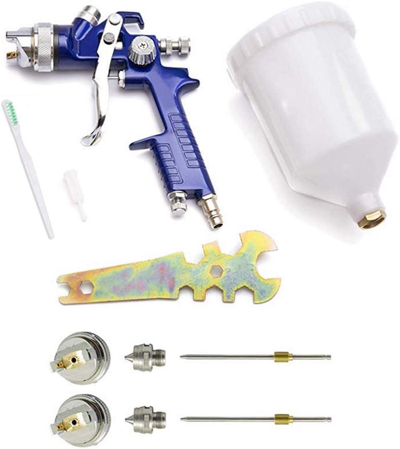 Pistola para pintar con pulverizador HVLP 600 ml 3 boquillas 1,4 mm 1,7 mm y 2,0 mm sistema profesional de pintura a pulverizaci/ón y boquilla de acero inoxidable Retoques pulverizadores de pintura