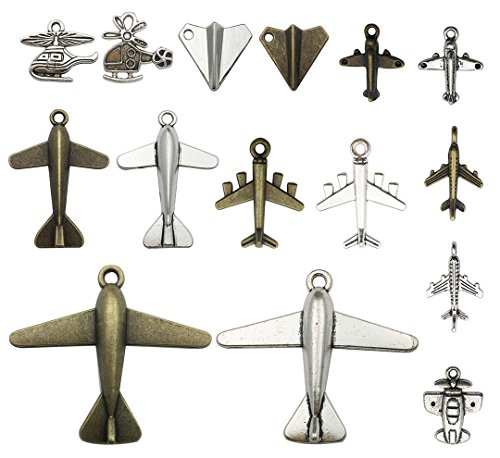 40 PCS Airplane Charms Collection - Antique Silver Bronze Colors Plane Passenger Aircraft Helicopters Aviation Aircraft Fighter Aircraft Pendants fro Jewelry Findings (Airplane ()