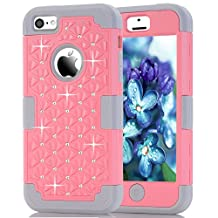 iPhone 5C Case, NOKEA Diamond Hybrid Heavy Duty Shockproof Full-Body Protective Case Ultra Slim Bumper Cover 3 in 1 Shield Soft TPU Hard PC Dual Layer Impact Protection (Pink Grey)