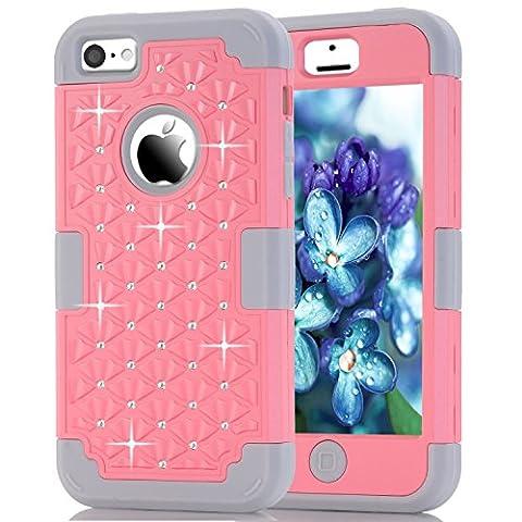 iPhone 5C Case, NOKEA Diamond Hybrid Heavy Duty Shockproof Full-Body Protective Case Ultra Slim Bumper Cover 3 in 1 Shield Soft TPU Hard PC Dual Layer Impact Protection (Pink (Pink Iphone 5c Phone Case)