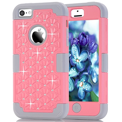 iPhone 5C Case, NOKEA Diamond Hybrid Heavy Duty Shockproof Full-Body Protective Case Ultra Slim Bumper Cover 3 in 1 Shield Soft TPU Hard PC Dual Layer Impact Protection (Pink Grey) (Iphone 4 Hybrid 3 Piece Case)