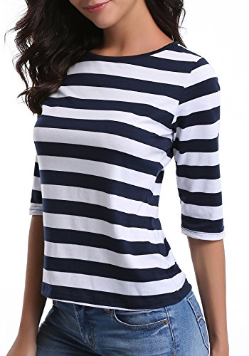 und Neck Striped Tee T-Shirt Tops,M … (Inside Out Striped Shirt)
