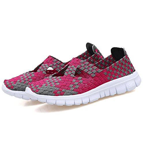 HLHN Women Loafer Shoes,Woven Flat Round Toe Running Sports Gym Breathable Sneakers Fashion Casual Lady Hot Pink