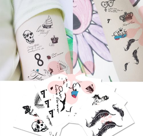 Assorted Elegant Daylite Hand-drawn Temporary Tattoo - I Love You, Valentine's -