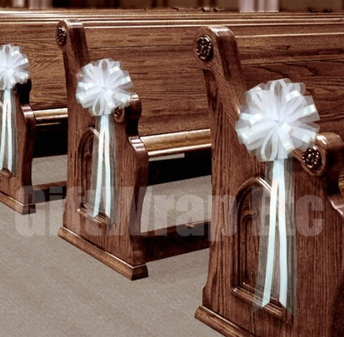 """White Tulle Wedding Pull Bows for Church Pews - 9"""" Wide, Set of 6, Aisle Decorations, Reception, Valentine"""