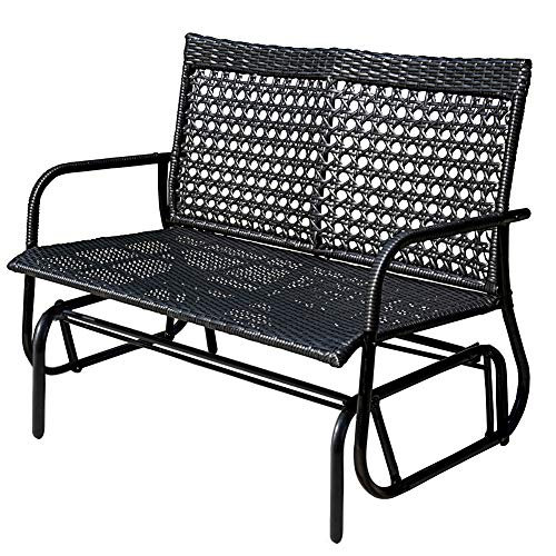 (Sundale Outdoor 2 Person Wicker Loveseat Glider Bench Chair Patio Porch Swing with Rocker,Black Wicker )