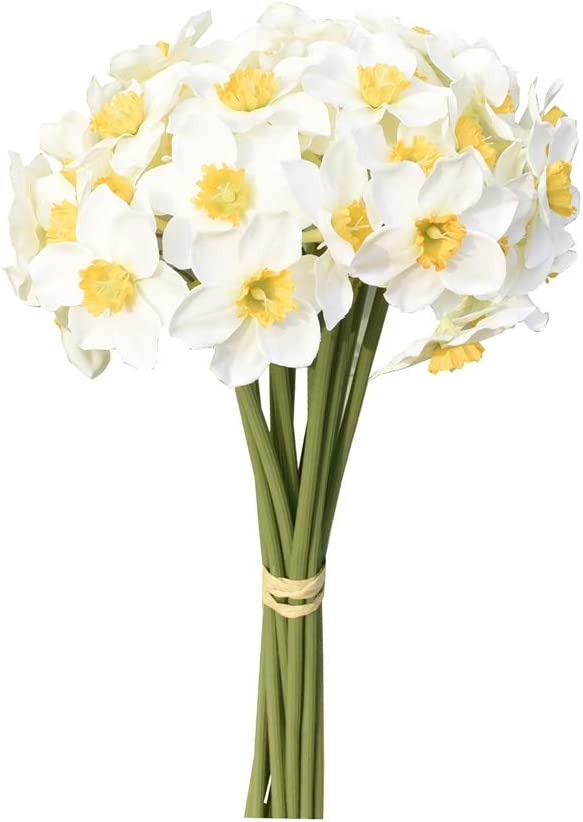 Mandy's 12pcs White Artificial Daffodils Flowers for Party Home Decoration