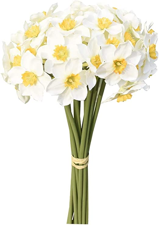 Mandy S 12pcs White Artificial Daffodils Flowers For Party Home Decoration Furniture Decor