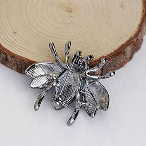 Modogirl Small Insect Bee Brooch Pin Black Crystal Safety Pins Gunmetal Black Corsage for Girls Women