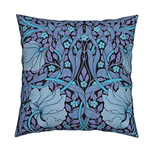 (Roostery Floral William Morris Damask Pimpernel Flowers Twilight Blue Organic Sateen Throw Pillow Cover William Morris ~ Pimpernel ~ by Peacoquettedesigns Cover w Optional Insert)