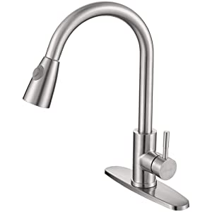 WOWOW Single Handle Kitchen Faucet with Pull Down Sprayer Brushed Nickel Kitchen Sink Faucet High Arc Commercial Kitchen Faucet One-Handle Stainless Steel with Deck Plate