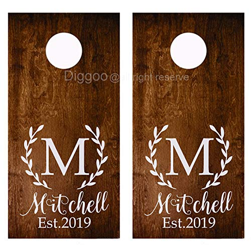 Custom Wedding Cornhole Decals With Name and Est Year Vinyl Monogram Decal Wedding Sign (18