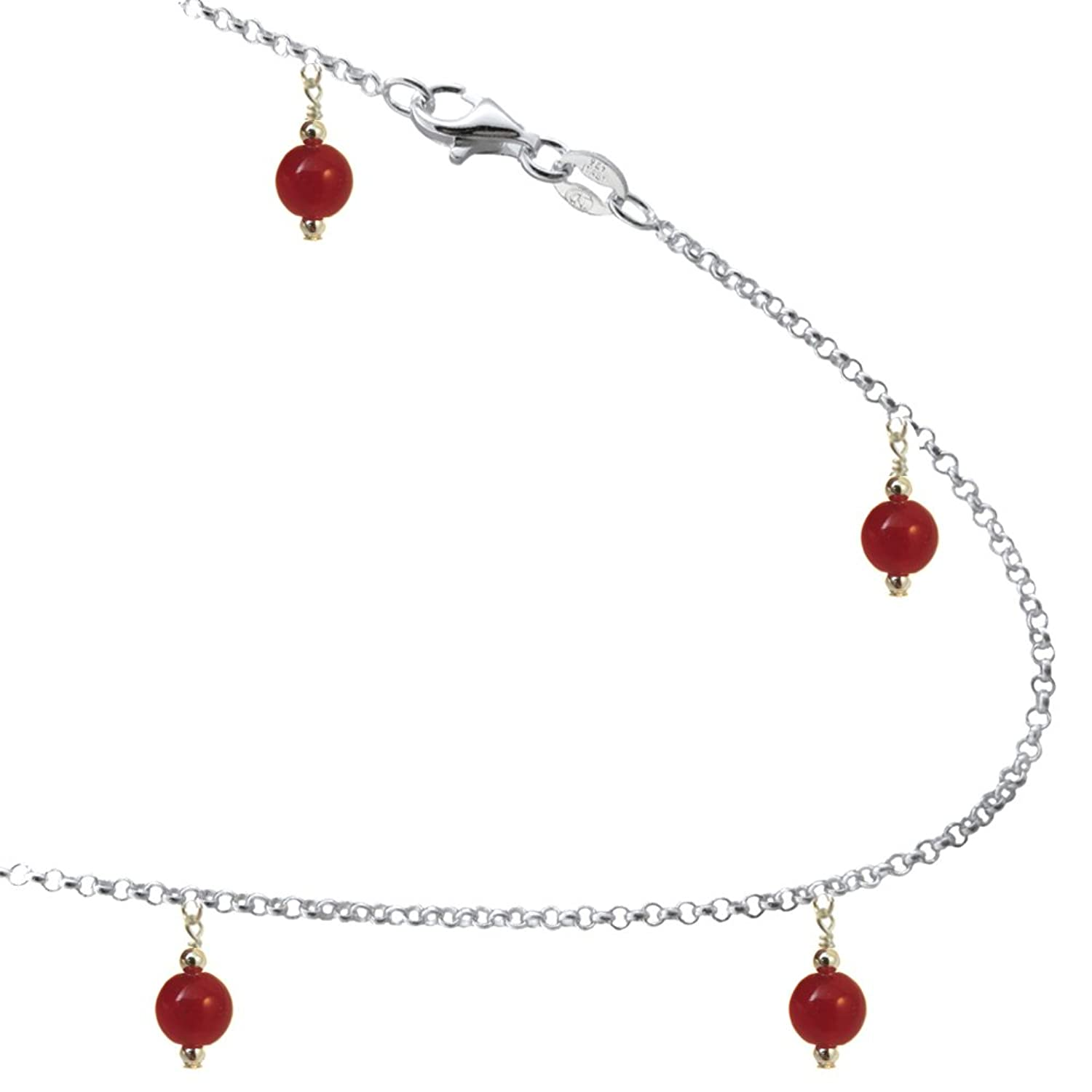 6mm Red Agate Colored Beads with Sterling Silver Link Anklet, Bracelet. 7,8,9,10,11,12,13 Inches