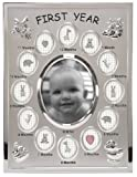 Malden International Designs Babys First Year Collage Picture Frame, 13 Option, 1-3.5x4, 12-1x1, Silver