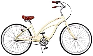 "Fito Women's Marina Aluminum Alloy 3-Speed Beach Cruiser Bike, Yellow, 15.5"" x 26""/One Size"