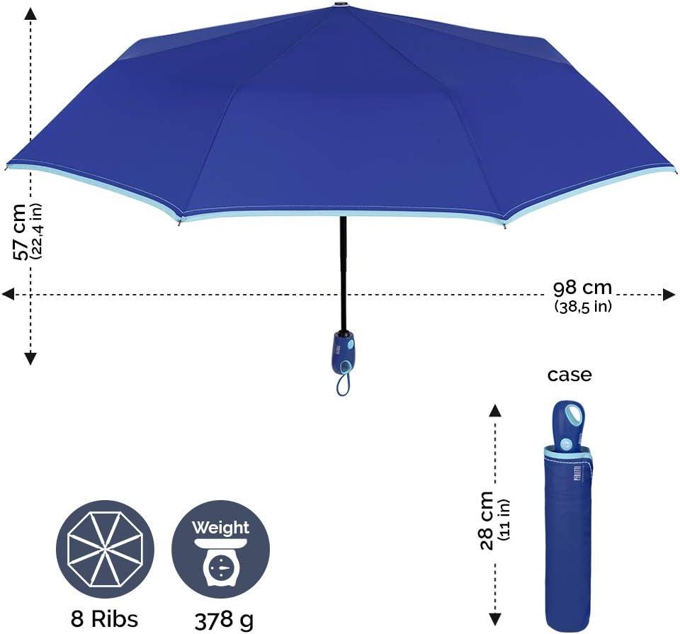 Parapluie Mini Uni de Voyage PERLETTI Parapluie Pliant Femme Bleu avec Bordure Turquoise Compact Solid R/ésistant au Vent Ultra-L/èger en Fibre de Verre Ouverture et Fermeture Automatique