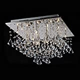 Lightess Square Chandelier Ceiling Light Modern Raindrop Flush Crystal Ceiling Lighting Pendant Lamp Chrome Finish Fixture Decoration for Living Room Bedroom Dining Room