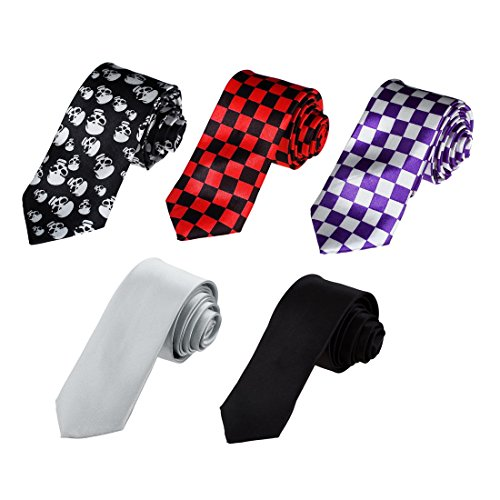 Dan Smith DAN3016 Italian Fabric Microfiber - 5 Skinny Ties Set Working Day Slim (Italian Neckwear)