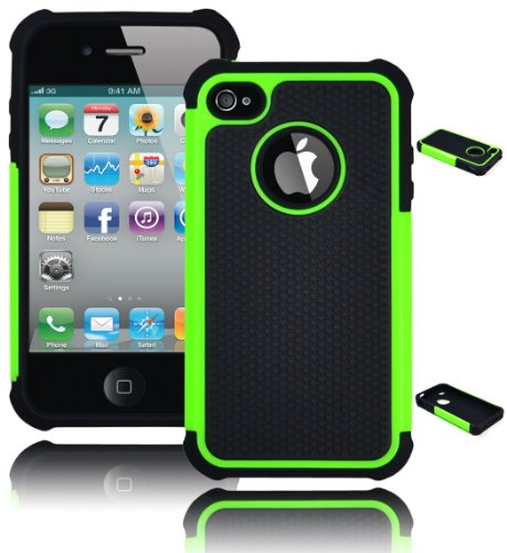 Bastex BasTexWireless Hybrid Hard Soft Armor Case Cover for Apple Iphone 4 / 4s - Green/black (Iphone 4 Hybrid Armor Case)