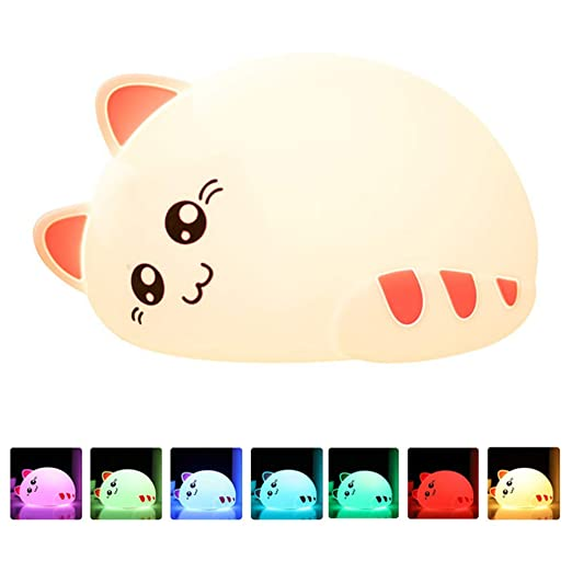 Cute Deer Cartoon Silicone Baby Led Night Light Childrens Toy Lamp Bedside Night Light Childrens Gift 7 Color Change Gift Led Night Lights