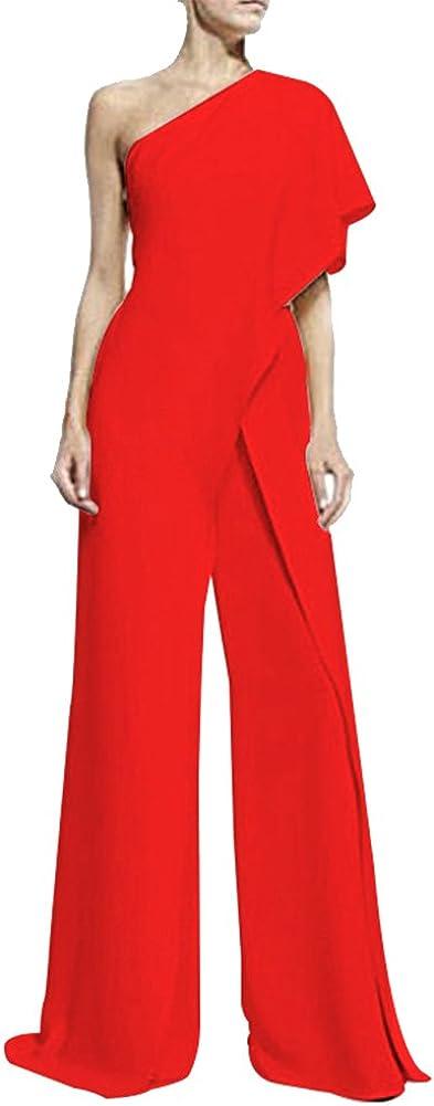 ZiXing Tute da Donna Casuale Elegante off Shoulder Senza Maniche Jumpsuit Playsuit