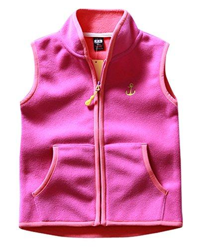 Aivtalk Girls Fleece Vest Two Slant Pockets Zip up Sleeveless Jacket Coat Western Outdoor Waistcoat 4-5T Rose