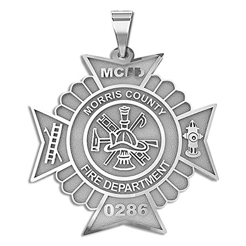(PicturesOnGold.com Solid 10K White Gold Maltese Cross Firefighter Badge with Your Number & Department - Size 1-1/4 x 1-1/4 inch)