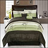 King Size Luxurious 12 PIECE Sage Portland BED IN A BAG Comforter Set. Includes Comforter, Pillow Shams, Decorative Pillows, Flat sheet, Fitted sheet, Pillowcases, Bed skirt