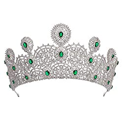 Rhodium & Green Crystal Tiara