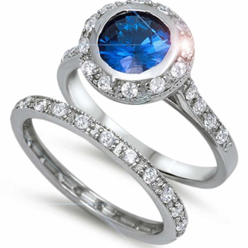 ROUND CUT SIMULATED BLUE SAPPHIRE CHANNEL SET DOUBLE WEDDING BAND Bridal SET SIZES (Double Channel Set)