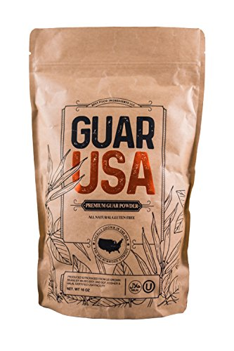 Guar Gum Powder 100% USA made!!! Food grade,100% Natural, Gluten Free & Vegan. Made from USA grown Guar Beans, Kosher & Halal certified. Perfect for baking, cooking & Ice cream making. (16 OZ)