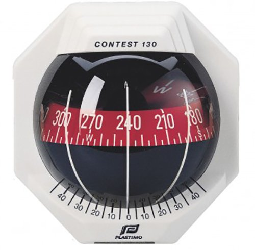 Nautos 17294 - Contest 130 Compass - Vertical Mount - White Compass with RED Card-PLASTIMO ()