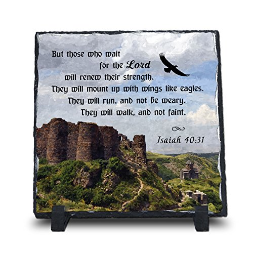 InspiraGifts But Those Who Wait for The Lord Will Renew Their Strength Isaiah 40:31 (7.5X7.5, Web) | Superior Religious Inspirational Home Décor Christian Home Plaque Stone Gift