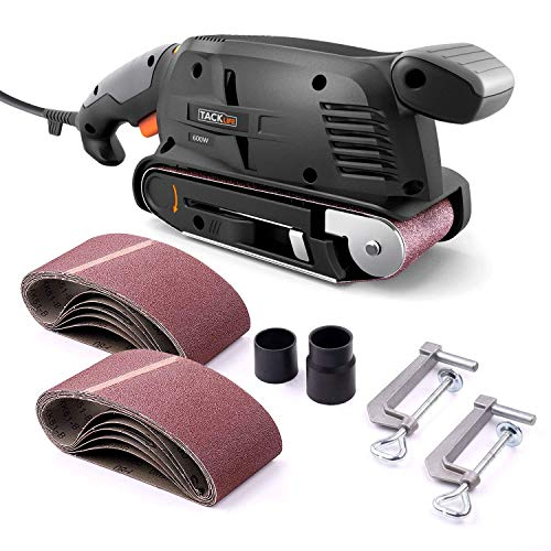 (TACKLIFE Classic Belt Sander 3×18-Inch with 13Pcs Sanding Belts, Bench Sander with Variable-speed Control, Fixed Screw Clamps, Dust Box, Vacuum Adapters, 10Feet (3 meters) Length Power Cord PSFS1A)