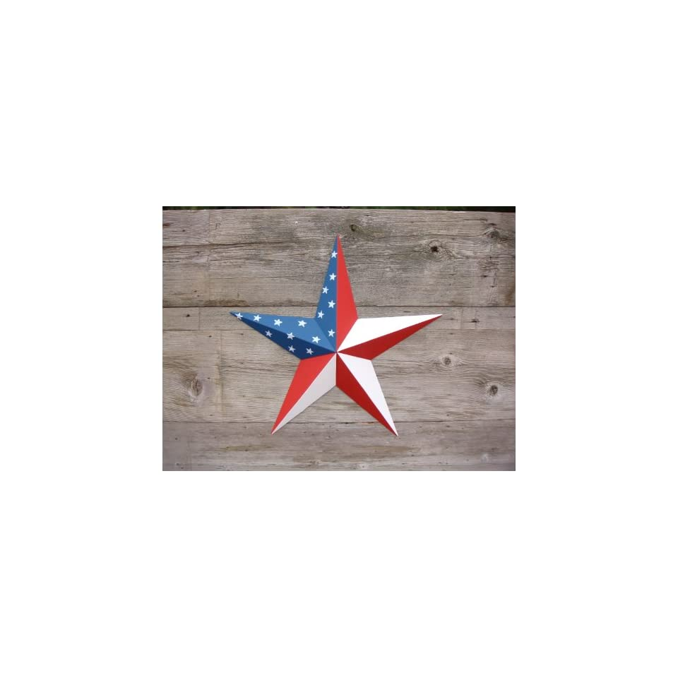 53 Inch Heavy Duty Metal Barn Star Painted Solid Patriotic Stars and Stripes. The Colors in the Patriotic Stars and Stripes (American Flag) Theme Are Radiant Red, White, and Blue. The Solid Paint Coverage Gives the Star a Clean and Crisp Appearance. This T