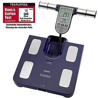 Omron Ganzkörperanalyse-Waage BF511 mit Hand-zu-Fuß-Messung, blau - misst Körperfett, Gewicht, Viszeralfett, Skelettmuskelmasse, Kaloriengrundumsatz und BMI 1