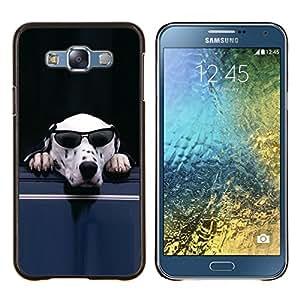 EJOOY---Cubierta de la caja de protección para la piel dura ** Samsung Galaxy E7 E700 ** --Gafas de sol para perros dálmata blanco divertido lindo