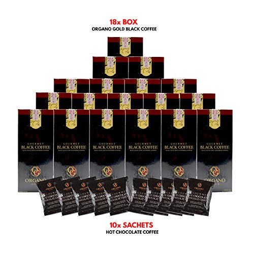 (Organo Gold Gourmet Black Coffee with Ganoderma Lucidum (18 Boxes) + Free Organo Gold Hot Chocolate sachets x 10 + Free Express Shipping to USA 2-3 days)