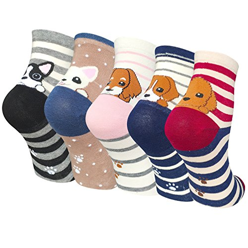 5-Pairs-Womens-Cute-Animal-Colorful-Dog-Cat-Cotton-Casual-Crew-Socks-by-Darller