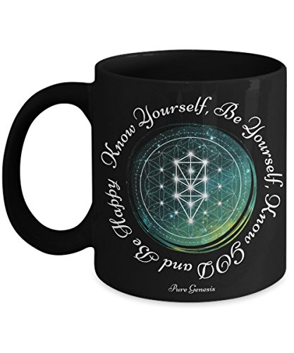 Know Yourself, Be Yourself, Know GOD and Be Happy - enlightening spiritual meditation yoga gift mug by Pure Genesis black coffee cup