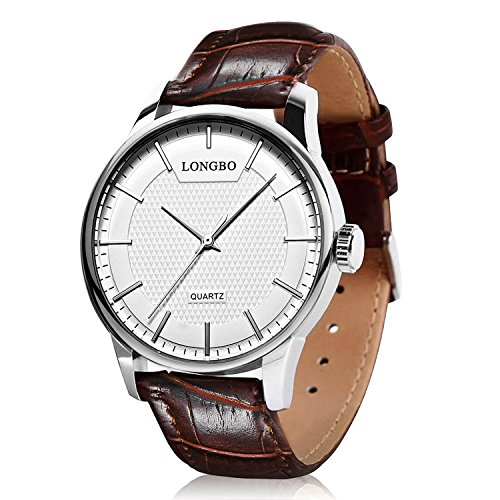 Mens Dress Leather Watch Quartz Analog Casual Fashion Business Wrist Watch Classic Calendar Date Window, Waterproof 30M Water Resistant Comfortable...