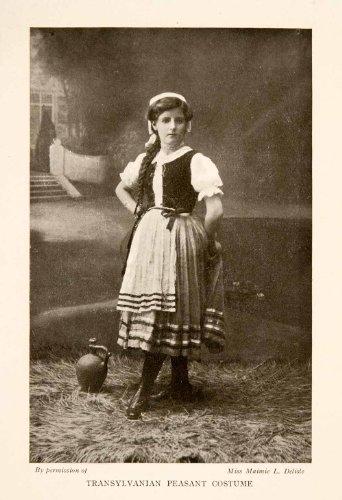 1914 Halftone Print Female Transylvanian Peasant Costume Dress Romania Apuseni - Original Halftone Print - Transylvanian Costumes
