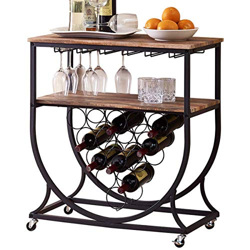(O&K FURNITURE Industrial Bar Cart on Wheels for Home, Wine Rack Cart with Glass Holder, Vintage Brown )