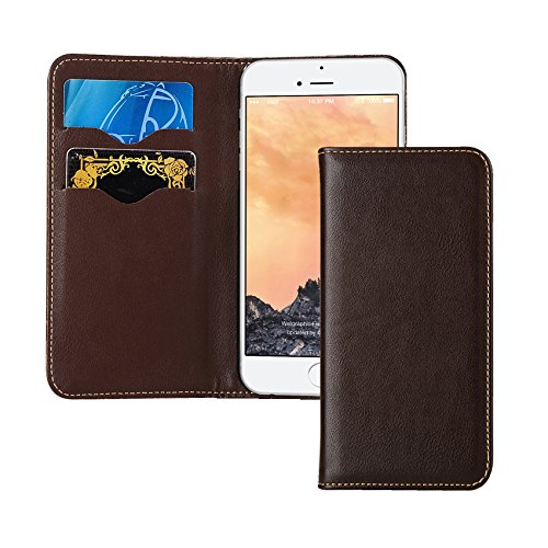 iPhone 7 Case, Tessera [GQ Diary][Coffee Brown]- Premium Genuine Leather + Card Holder + Luxury Wallet Kickstand Case For apple iPhone 7 - Glasses Gq Mens