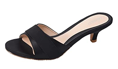c389780946a Women s Summer Open Toe Satin Simple Sandals Low Heeled Slippers Slip On  Shoes Black Size US6